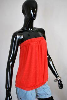 Joasoul oversize Bandeau Top loose shirt Blutorange Rot Vintage