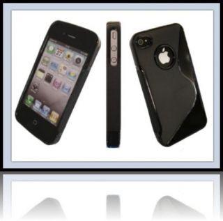 Rubber Case Schwarz Tasche Apple iPhone 4 S Handy Schutz Hülle Case