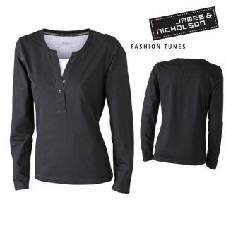 James & Nicholson Damen Longsleeve T Shirt Knopfleiste Doppeloptik
