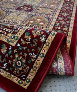 Web Teppich *KTI Orient Ghom Style Felder rot* 120x180 NEU
