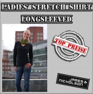 James & Nicholson Ladies Strech Shirt Longsleeved JN929 Damen T Shirt