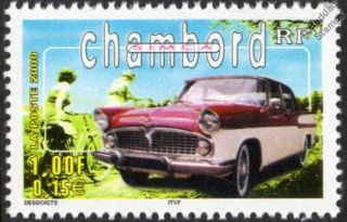 SIMCA CHAMBORD / FORD VEDETTE CAR STAMP (2000 France)