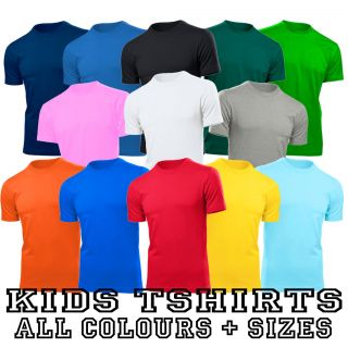 Girls Boys Tshirt Top T Shirt New All Colours + Sizes