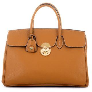 ROUVEN Cognac & Gold JANE ICONE 40 Tote Bag Leder Tasche Damen