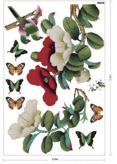 Removable JAPANESE FLOWER TREE BIRDS Butterflies WALL DECO MURAL