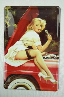 Blech Metall Schild sexy Pin Up Girl Auto Werkstatt Wand Deko Garage