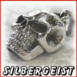 TOTENKOPF beweglich Anhänger 925 Silber Biker mit Band Skull pendant