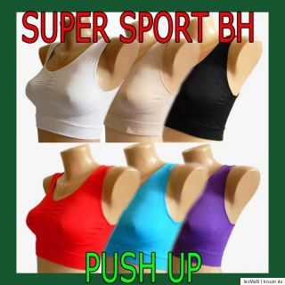 Push Up BRA Sport BH FORM ohne Bügel Bustier Body Top Microfaser M L
