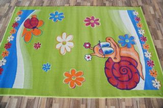 Moderne Kinderteppich Schnecke Pink Green Blue Orange120x160,133x200