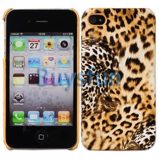 Brown Fierce Tiger Print Hard Case Cover Skin for Apple iPhone 4 4G 4S