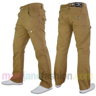 Hose Herren Crosshatch Jenas Denim Chino Tiefer Bund W28 W30 W32 W34