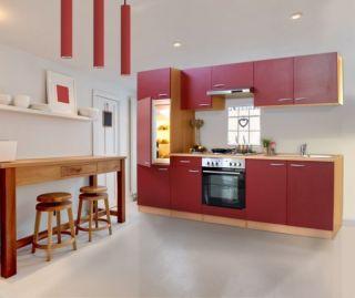 Küchenzeile 270 cm Buche rot, Einbauküche, Küche, Komplett Küche