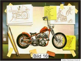 Wanduhr Uhr Harley Motiv 30 x 40 cm auf Leinwand Dave Mann