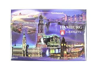 HAMBURG Highlights Germany Foto Magnet,Deutschland Souvenir,8 cm,NEU