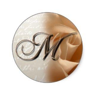Monogram Letter M 2008 Wedding Envelope Sticker