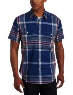 Nautica Mens Short Sleeve Large Plaid Shirt, Nautica Blue