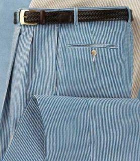 Stays Cool Cotton Pleated Front Cuffed Bottom Seersucker