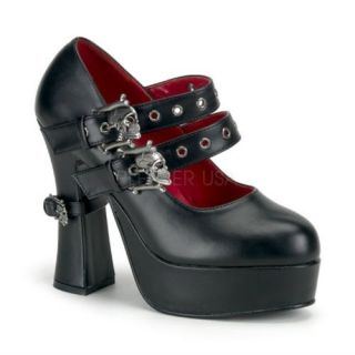 DEMON 16,Double Skull Buckle Strap W/Mini Skull Buckle Stra Shoes