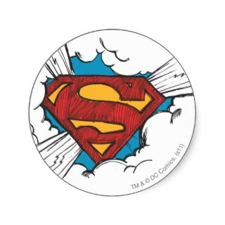 Superman logo in clouds round sticker