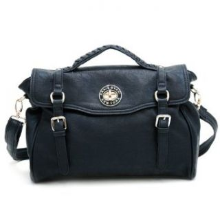Anais Gvani Womens Fashion Belted Leather Like Briefcase