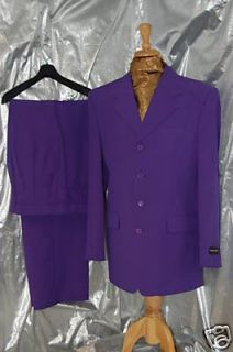 Mens Dress Fromal Single Breasted Light Weight Dark PURPLE
