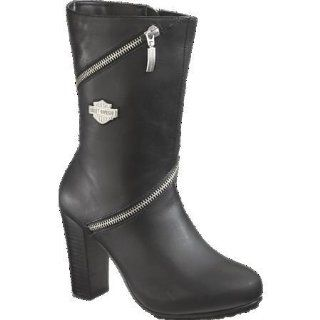 Sabrina Motorcycle Boots Shoes Black Womens, 10, Black Leather Shoes