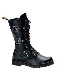 Black Mens 14 Eyelet Buckle Combat Boot   12 Shoes