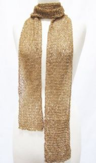 Crocheted Beaded Net Scarf Stole Wrap Shawl Gold Clothing