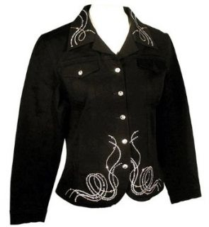 Christine Alexander Fitted Black Denim Jacket Accented