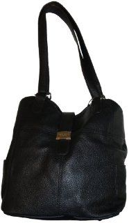 Womens Tignanello Leather Purse Handbag On My Tab Tote Black Shoes