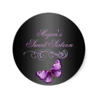 Purple/Black Butterfly Sweet 16 Envelope Sticker sticker