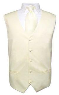 Mens Dress Vest NeckTie CREAM Color Neck Tie Set for Suit