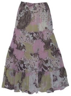 Long tieredPrairie Skirt/lined/brn and pink floral print