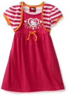 Hello Kitty Girls 2 6X Striped Shrug Dress, Pink, 2T