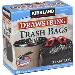 Kirkland Signature Drawstring Trash Bags   33 Gallon   Xl