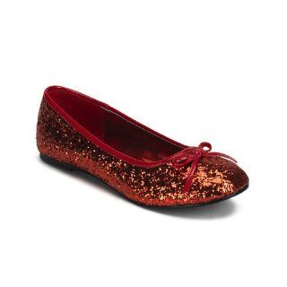 Womens Cute Ballet Flat Shoes RUBY SLIPPERS Red Glitter Bow