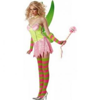 Tinkerbell Fairy (Pink/Green) Adult Costume Size 6 8 Small