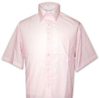 Mens Short Sleeve PINK Color Dress Shirt Clothing