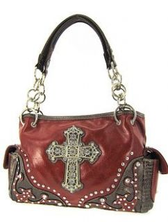 Western Cowgirl Bling Rhinestone Cross Satchel Purse Red