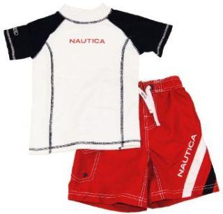 Nautica Toddler Boys Red/White Print Rash Guard Swim Top/T