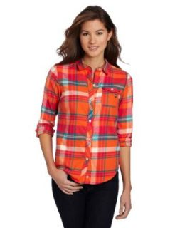 US Polo Assn. Juniors Plaid Flannel Shirt, Towline Orange