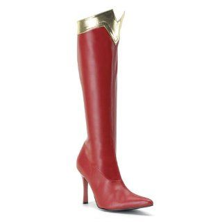 Size 8   Sexy Red/Gold Wonder Woman Costume Spiked Heel Boots Shoes