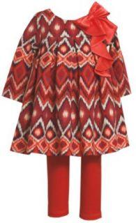 Bonnie Jean Girls 2 6X Flamestitch Print Top with Knit