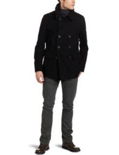 Ben Sherman Mens Double Breasted Melton Coat, Black, X