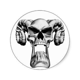 Demon Skull Round Sticker