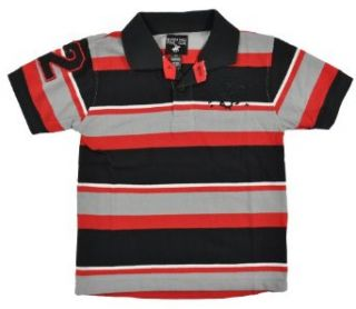Beverly Hills Polo Boys S/S Striped Black Gray Red Polo