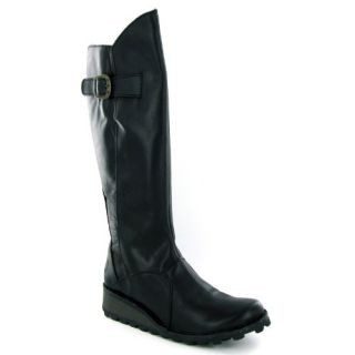 Fly London Mol Black Leather Womens Boots Shoes