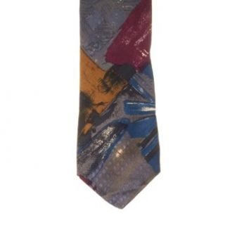 Isaac Zelcer Mens Patterned 100% Silk Neck Tie Grey One