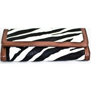Brown Zebra Print Clutch Wallet with Checkbook Holder Shoes