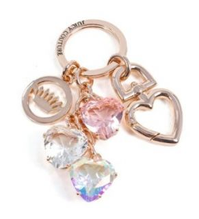 Juicy Coutture Rose Gold Crystal Pave Colorful Heart Key